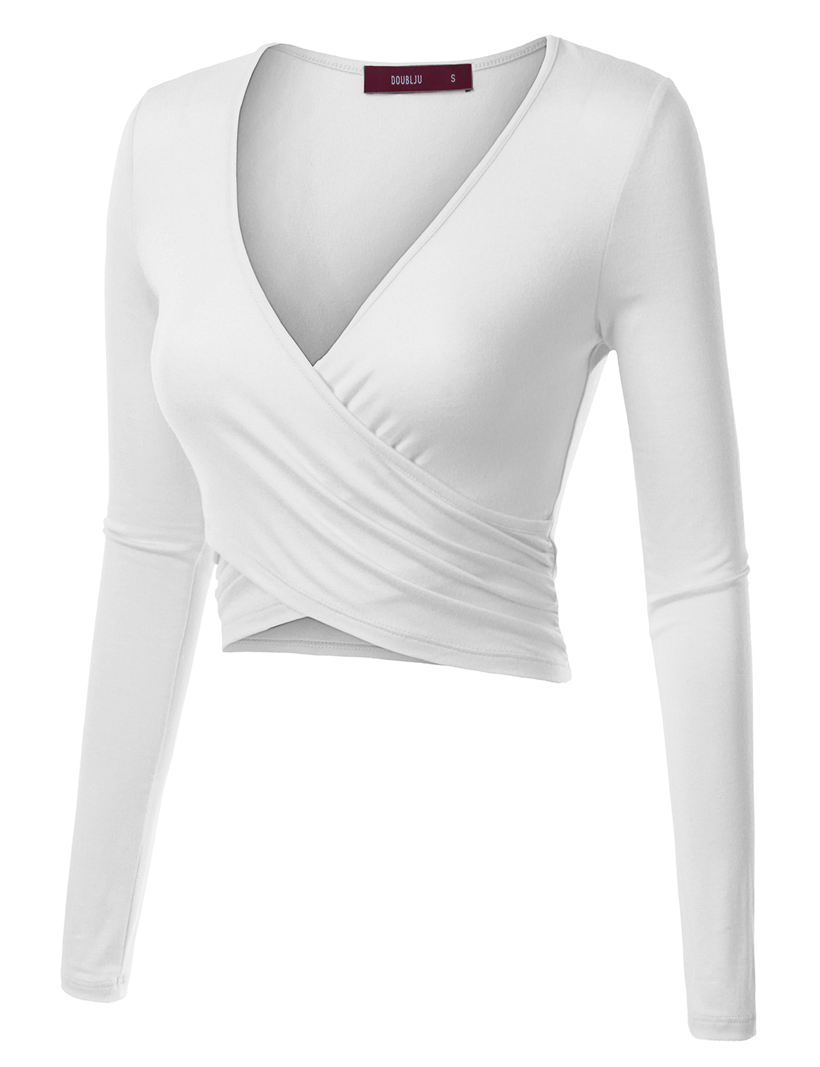14ac40267e9e0 Doublju Deep V-Neck Fitted Surplice Wrap Crop Top for Women with ...